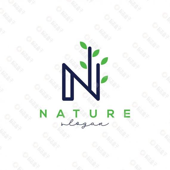 N字母自然矢量标志