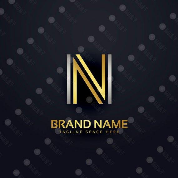 N字母金色豪华矢量标志