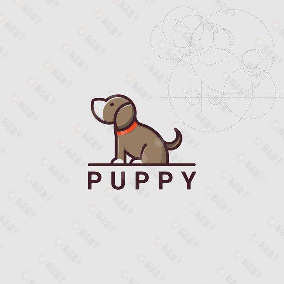 可爱宠物狗矢量标志