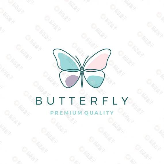 线条蝴蝶矢量标志